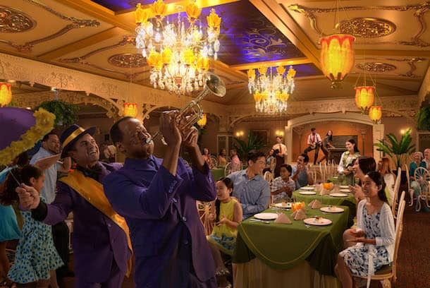 "Exclusive to the Disney Wonder, Tiana's Place restaurant is inspired by Princess Tiana from the Disney animated feature, ""The Princess and the Frog."" The new restaurant will transport guests to an era of southern charm, spirited jazz and street party celebrations. Influenced by southern-style cuisine, chefs will cook up Tiana's recipes, drawing inspiration from the flavors and ingredients of the Louisiana bayou. (Photo illustration, Disney)"
