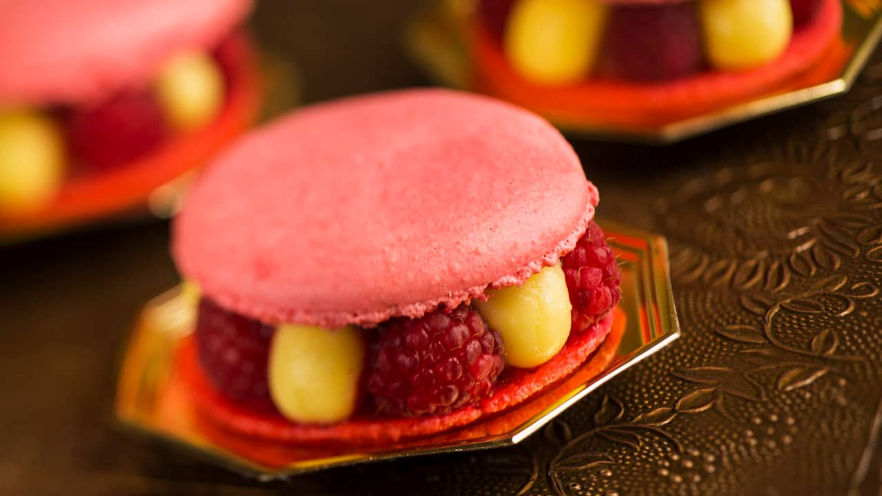 Macaron with Raspberry and Lime Cream or Macarons Collection from Les Halles Boulangerie-Patisserie at Epcot