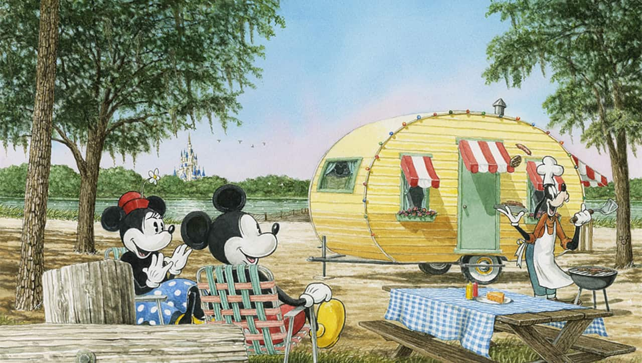 Mickey, Minnie and Goofey Camping Artwork