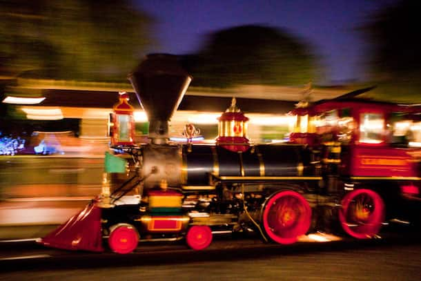 The Sun Sets on the Disneyland Railroad at the Disneyland Resort