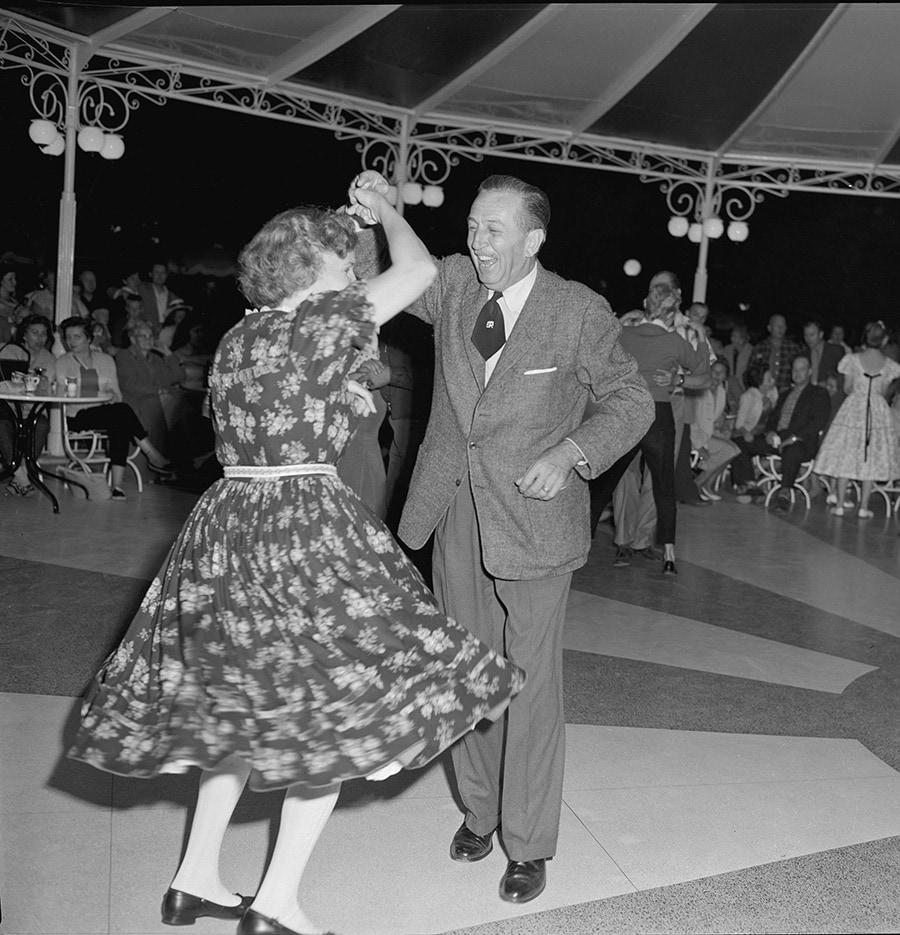 Walt Disney Dancing at Carnation Plaza Gardens at Disneyland Park