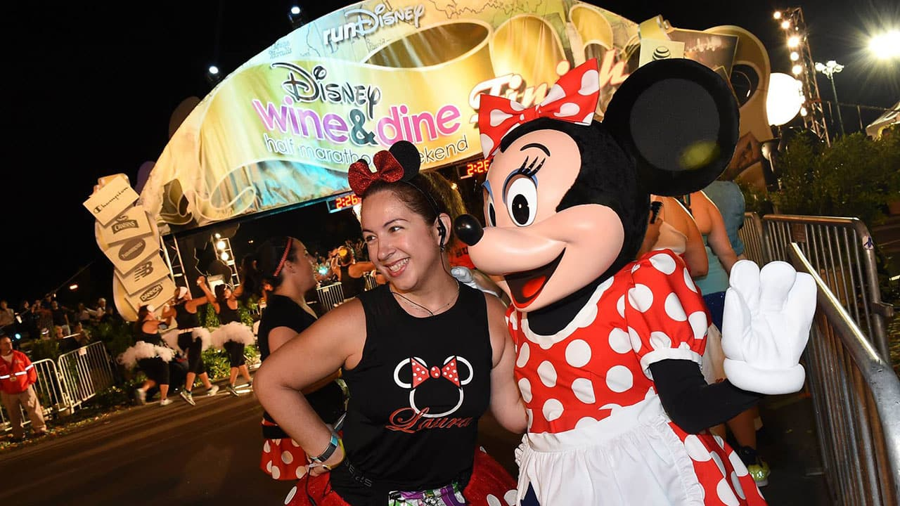 Minnie Mouse at the Disney Wine & Dine Half Marathon Finish Line