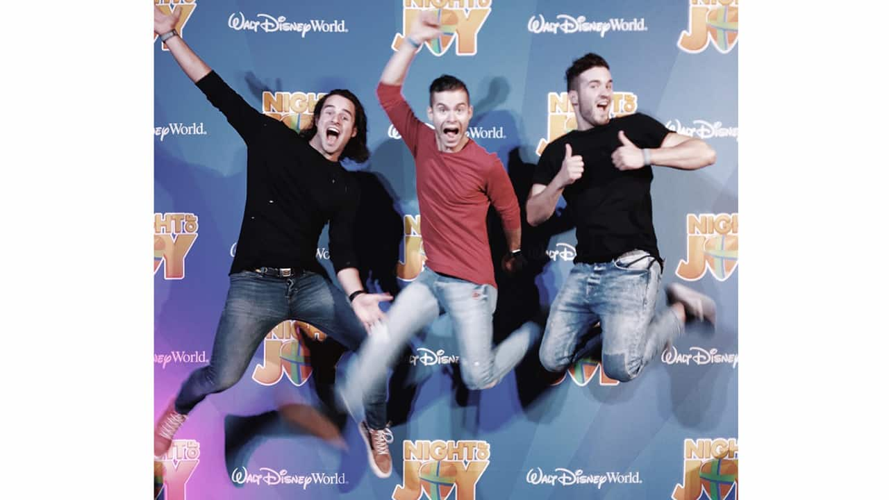 The Oswald Brothers Band (OBB) enjoys some fun in the Jostens Center before their concert at Night of Joy at Walt Disney World.