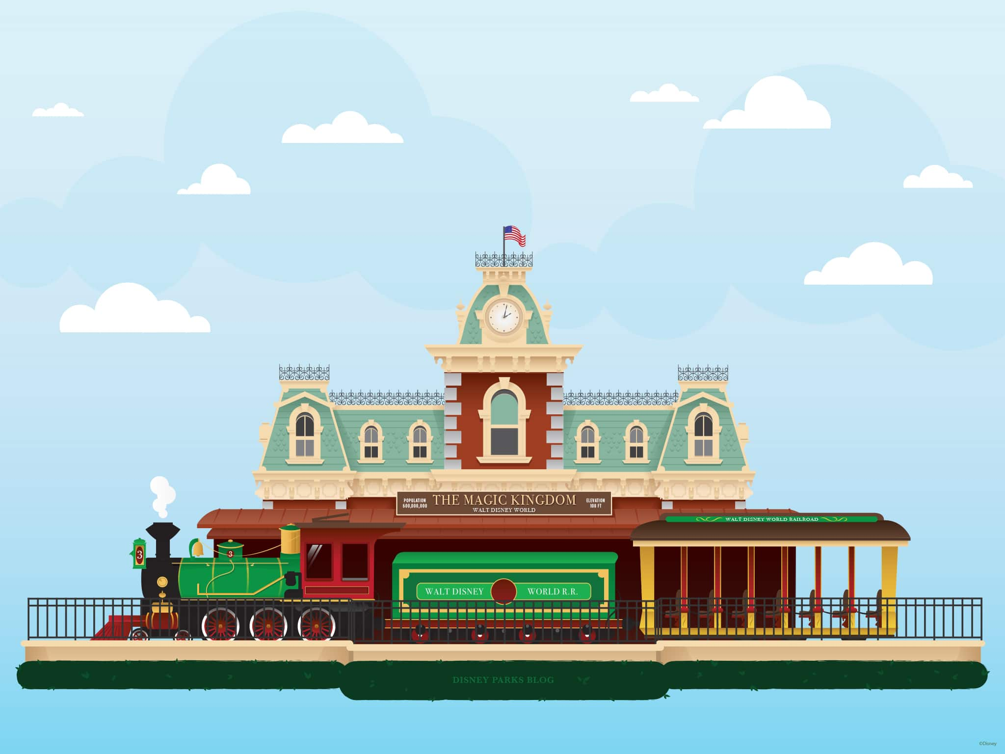 45th Anniversary Wallpaper Walt Disney World Railroad Train Station Desktop Disney Parks Blog