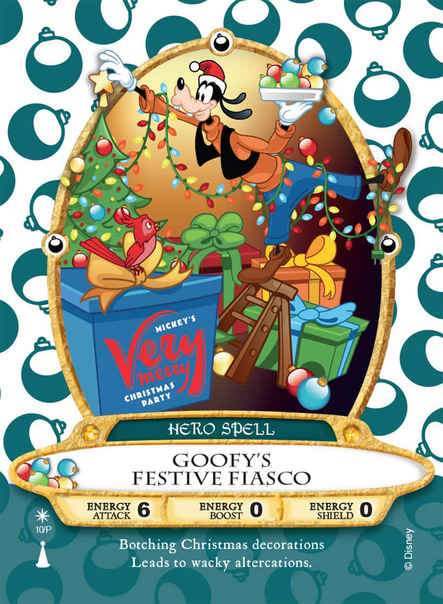 sneak peek goofys festive fiasco sorcerers of the magic kingdom card for mickeys