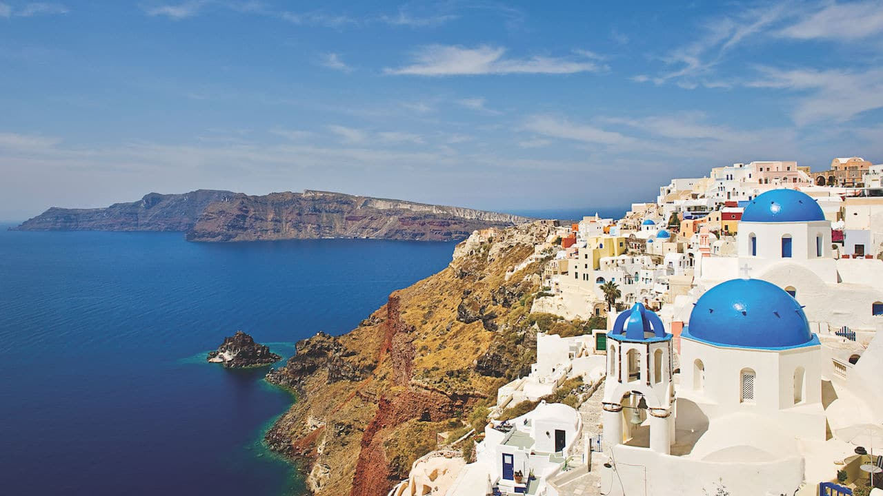 Image of Blue Dome buildings in Santorini Greece on an Adventures by Disney Vacation