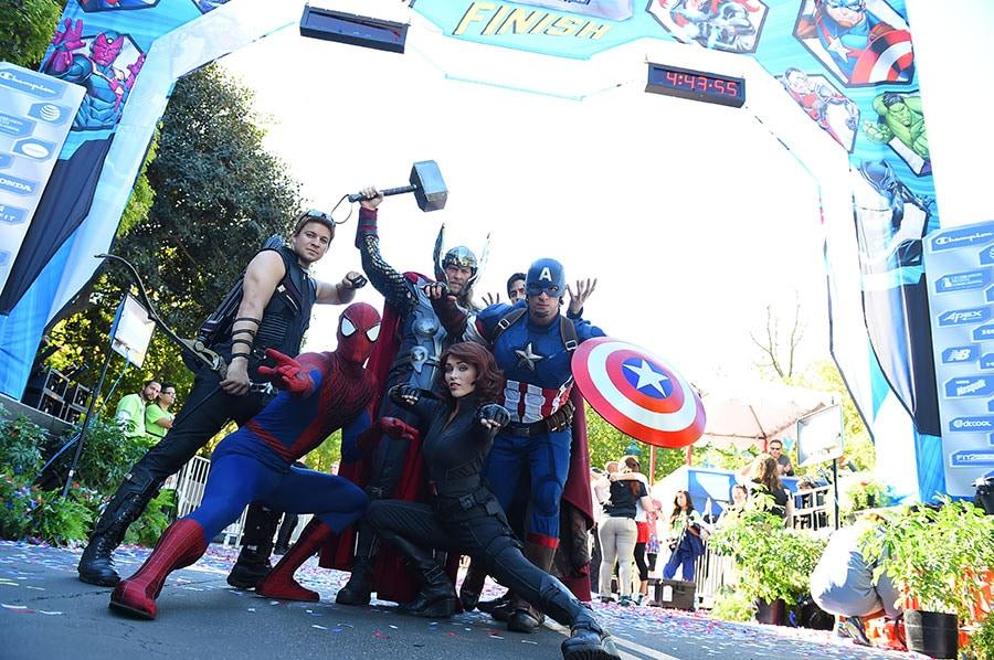 Super Heroes Captain America, Spiderman, Thor & Black Widow Assemble at runDisney