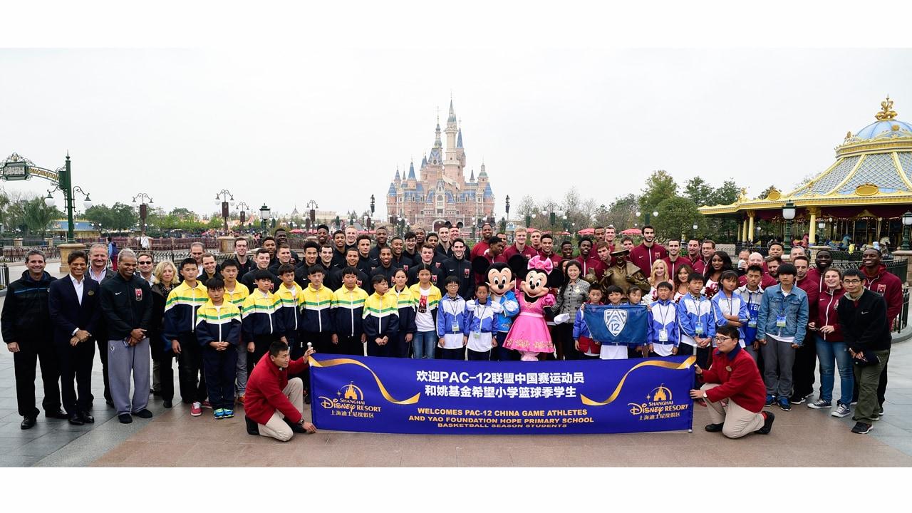 PAC-12 China Game Athletes Visit Shanghai Disneyland