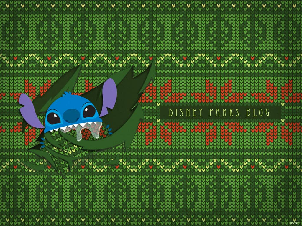 Disney Parks Blog Ugly Christmas Sweater featuring Stitch Wallpaper