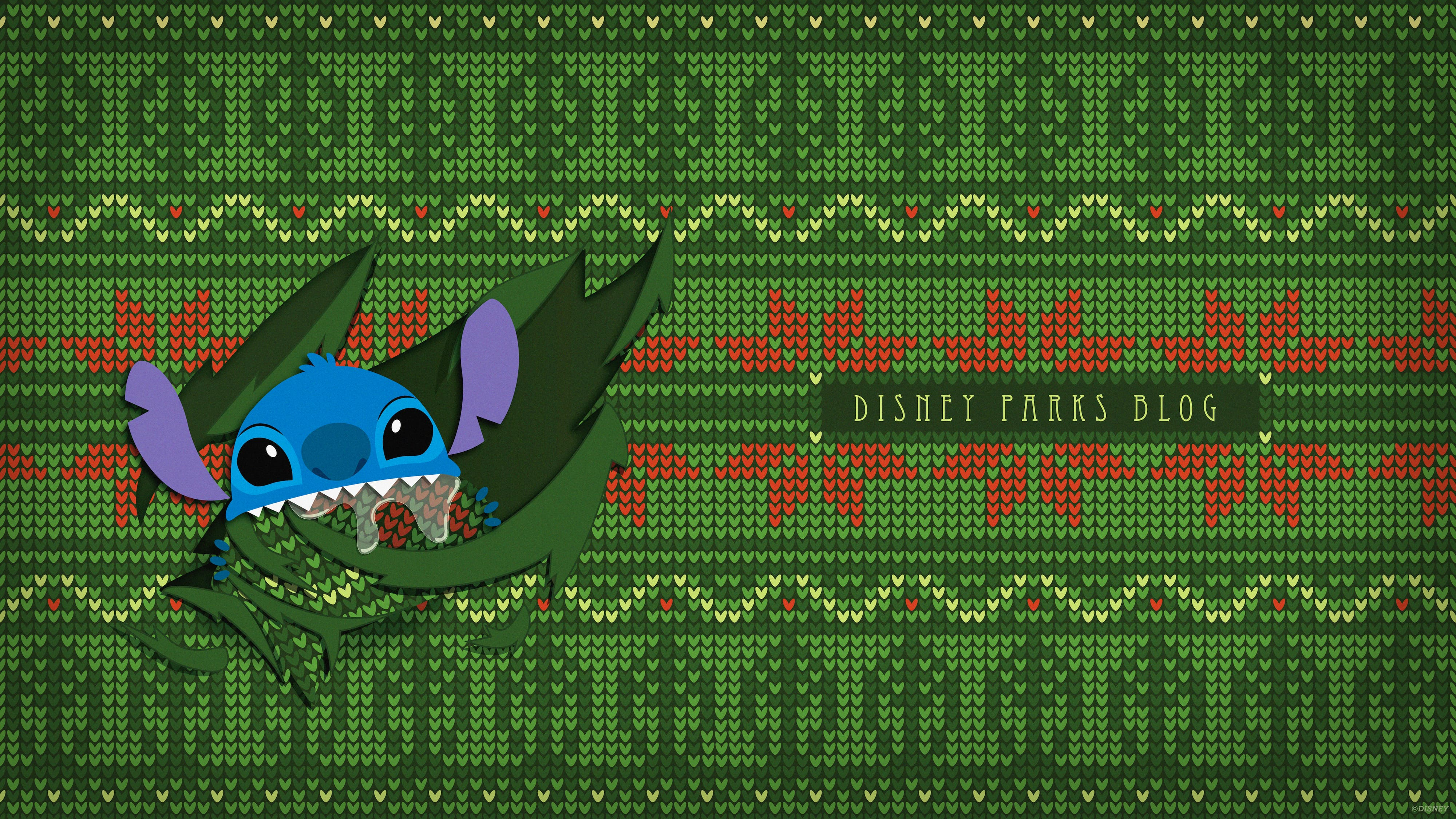 Ugly Christmas Sweater Wallpaper Featuring Stitch Desktop