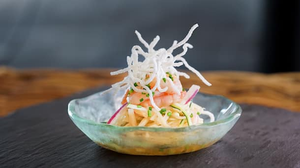Chilled Papaya Shrimp Salad from Good Fortune's Feast at Festive Foods Marketplace Kiosks at Festival of Holidays in Disney California Adventure Park