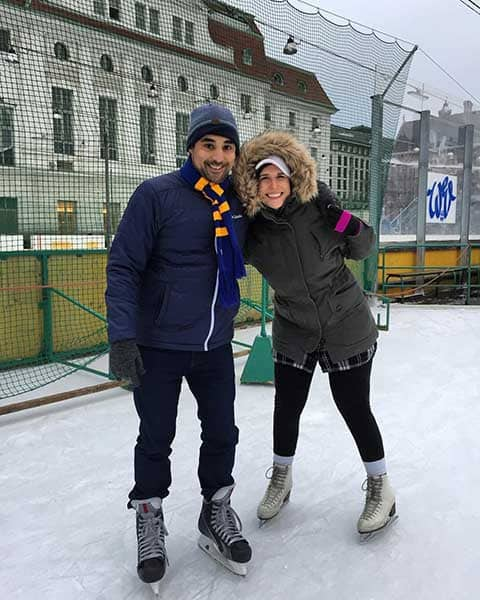 Couple ice skating for their honeymoon.