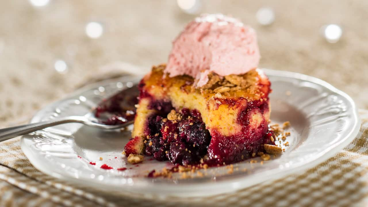 Warm Wild Berry Buckle with Pepper Berry Sorbet