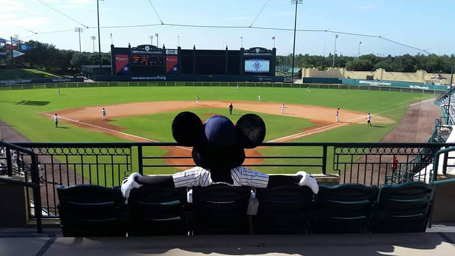Mickey Mouse enjoying Atlanta Braves Spring Training