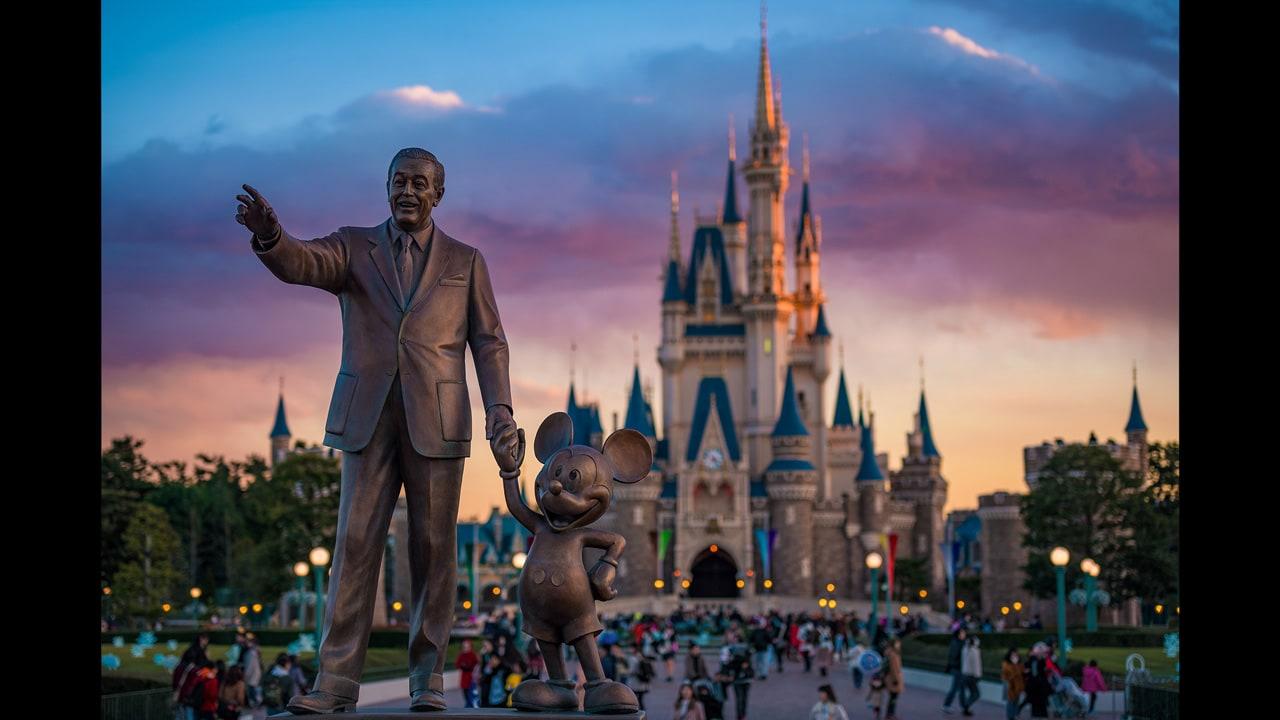 Disney Parks After Dark The Partners Statue At Tokyo Disneyland