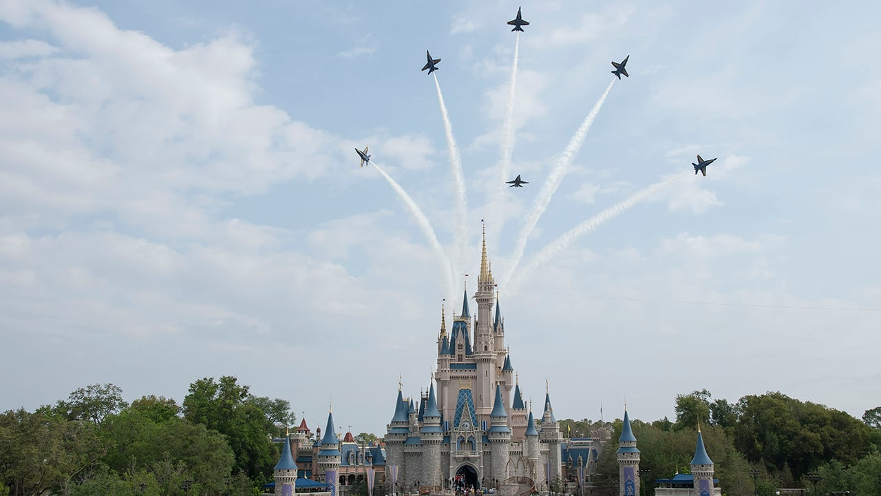 U.S. Navy Blue Angels Perform 'Magical' Flyovers at Magic Kingdom Park