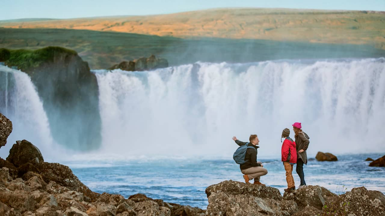 Family at Iceland Waterfall on Adventures by Disney Iceland Vacation
