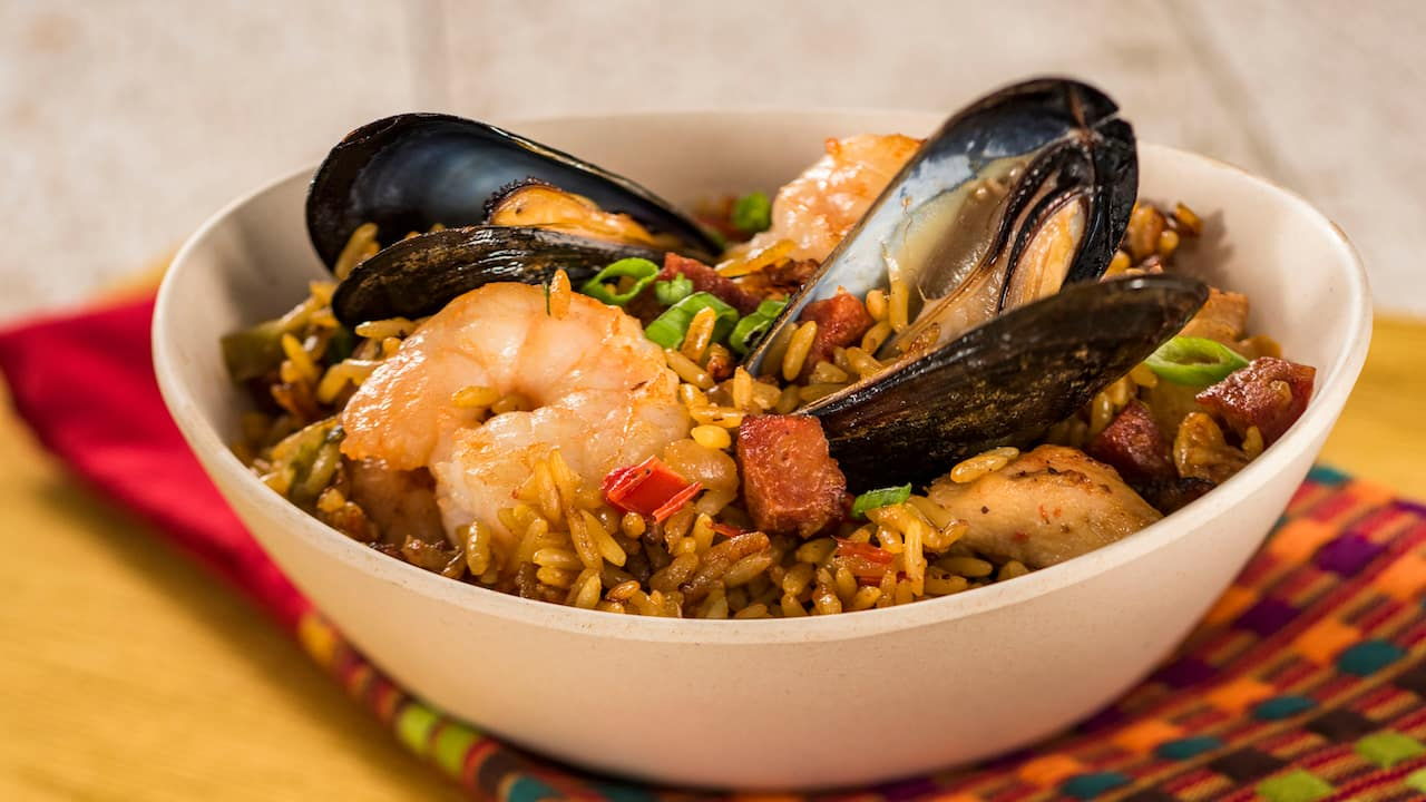 Traditional Spanish Paella with Shrimp, Mussels, Chicken, and Crispy Chorizo