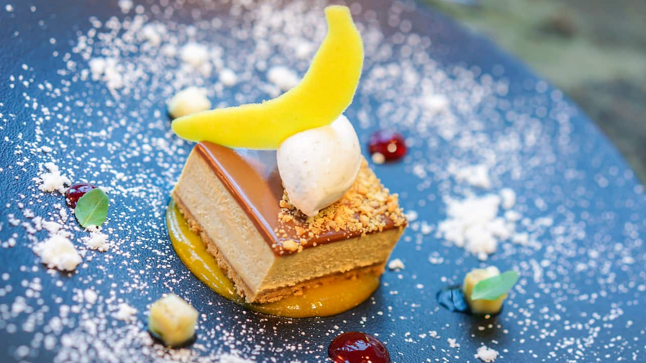 Caramel Milk Chocolate Peanut Butter Bar with Peanut Crunch and Banana Cream from Napa Rose at Disney's Grand Californian Hotel & Spa