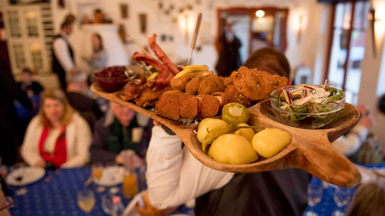 Hungarian sampler platter with various Hungarian cuisines on the Adventures by Disney Danube River Cruise