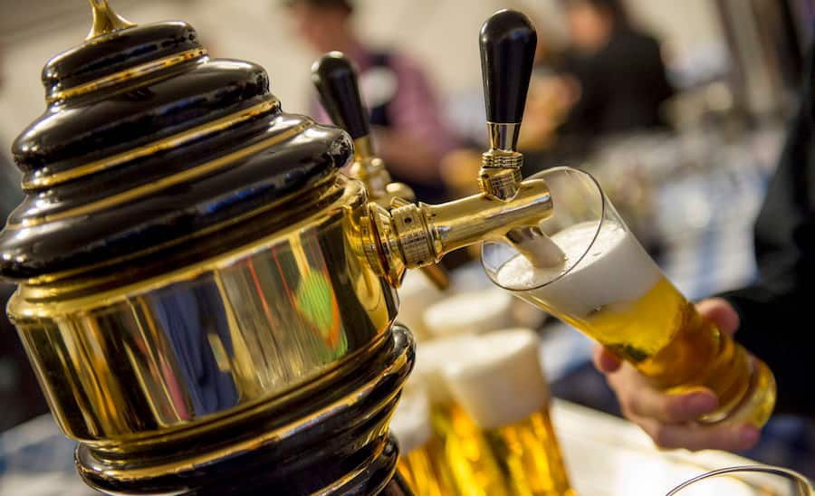 German beer served from a keg during an Oktoberfest celebration on the Adventures by Disney Danube River Cruise