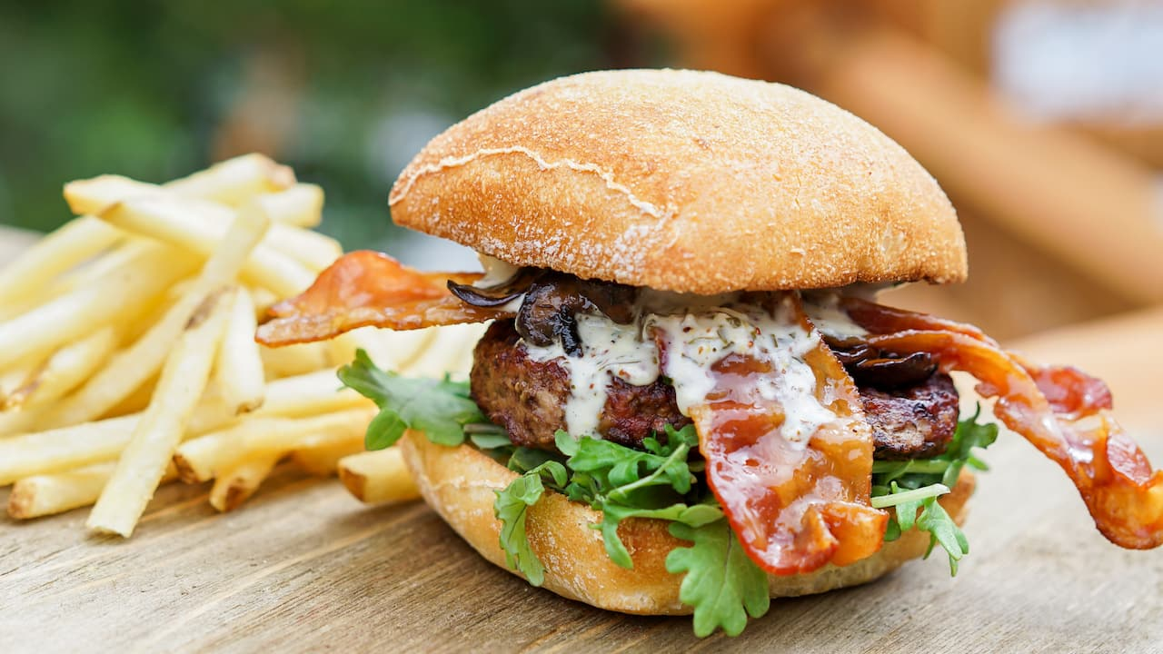 Hungry Bear Restaurant Bison Blue Cheese Burger at Disneyland Park