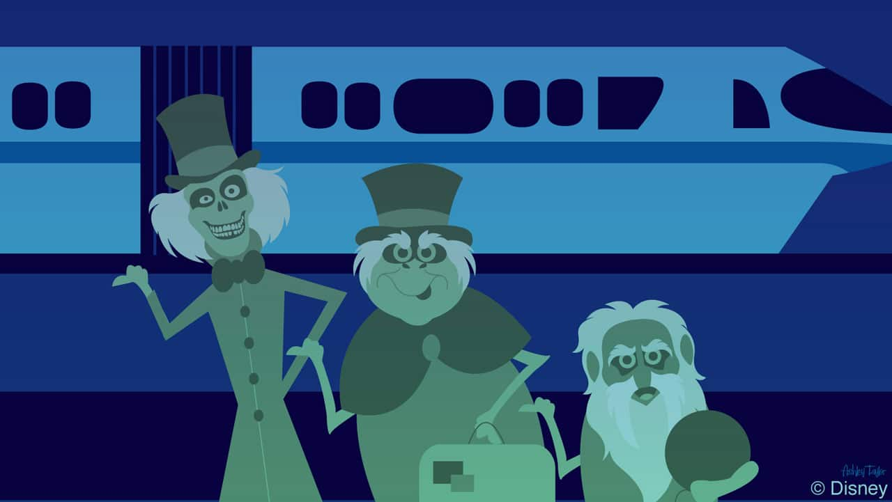 Disney Doodle: The Hitchhiking Ghosts Grab A Ride On The Monorail
