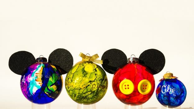 mickey inspired marbled glass ornaments - Disney Christmas Ornaments