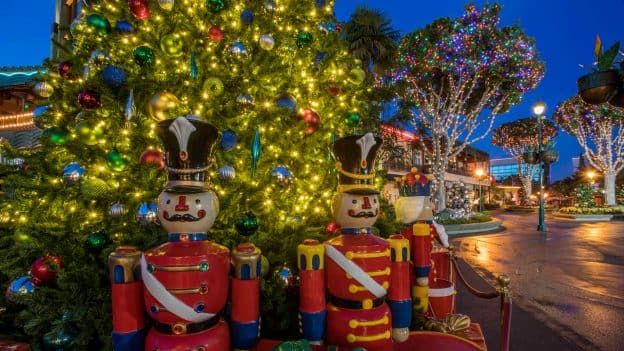 christmas tree and holiday decor at downtown disney district - When Does Disneyland Decorate For Christmas 2017