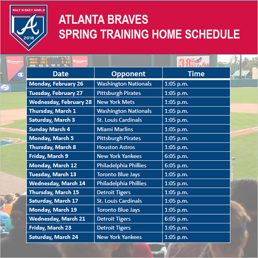 Play Ball! Atlanta Braves' Spring Training Announced