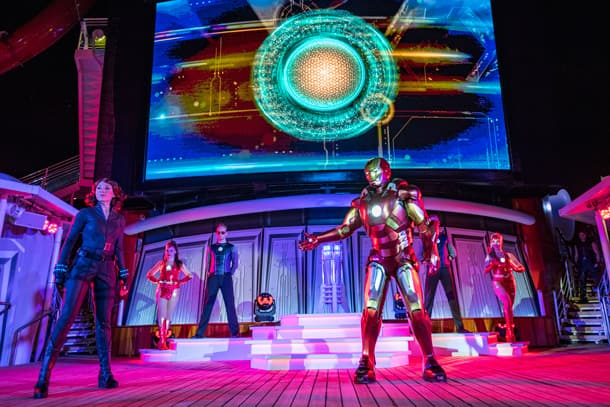 """Marvel Heroes Unite"" show during Marvel Day at Sea on the Disney Magic"