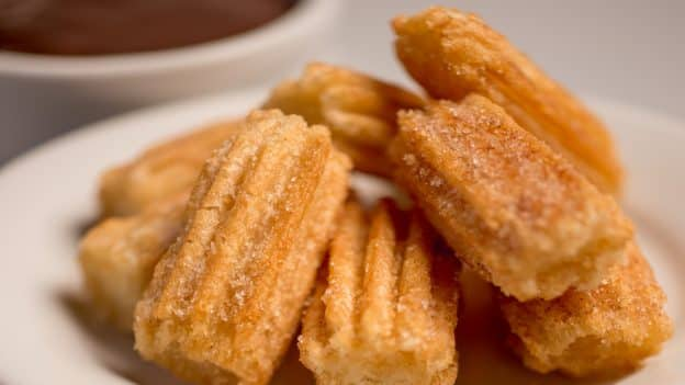 Churro Bites with Chocolate Dipping Sauce at Pecos Bill Tall Tale Inn and Café in Magic Kingdom Park