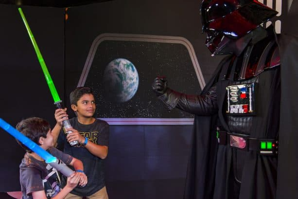 Encounters with Darth Vader and other Star Wars characters are part of the Disney Cruise Line adventure Star Wars Day at Sea