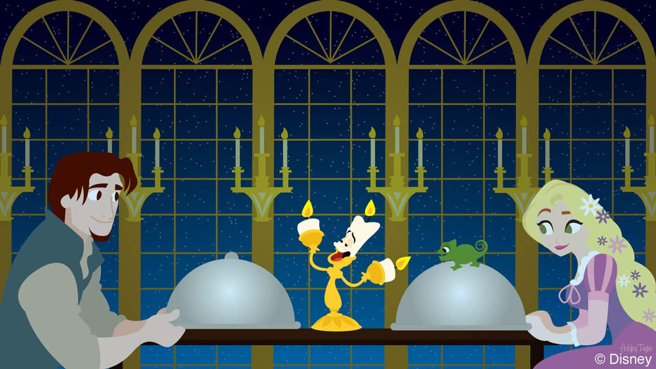 Disney Doodle: Rapunzel & Flynn Rider Visit Be Our Guest