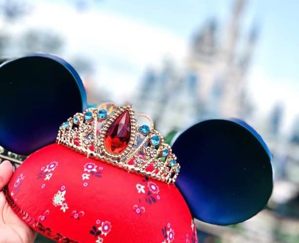 Elena-inspired Ear Hat in front of Cinderella Castle