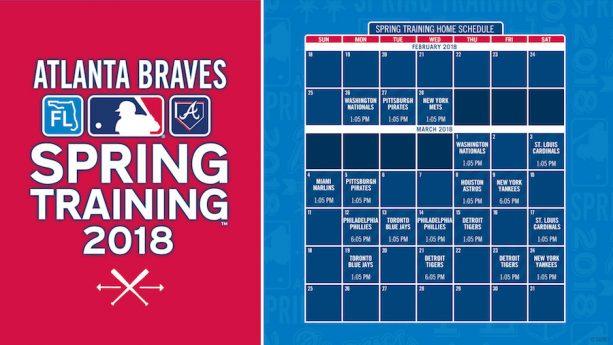 2018 Atlanta Braves Spring Training Schedule