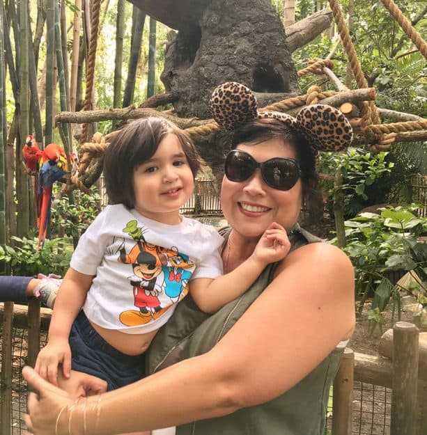 Mother, child celebrating valentines day at Disney's Animal Kingdom