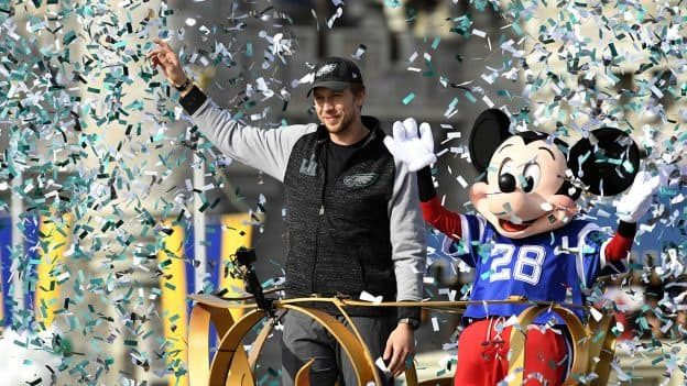 Super Bowl Hero Nick Foles with Mickey Mouse at Walt Disney World