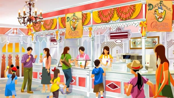 Rendering of New Chocolate Crunch-Themed store to Open at Tokyo Disneyland's World Bazaar