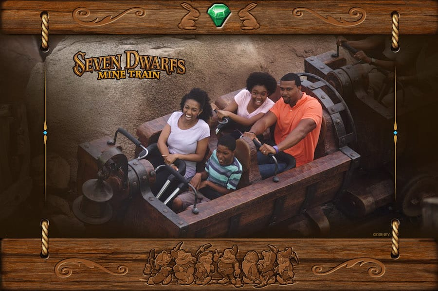 Family on Seven Dwarfs Mine Train at Magic Kingdom Park