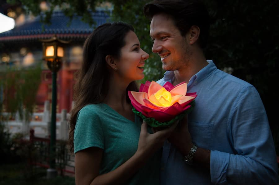 Couple with Flower at China Pavilion at Epcot