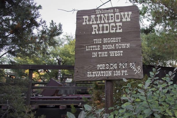 Rainbow Ridge wooden sign on Big Thunder Railroad