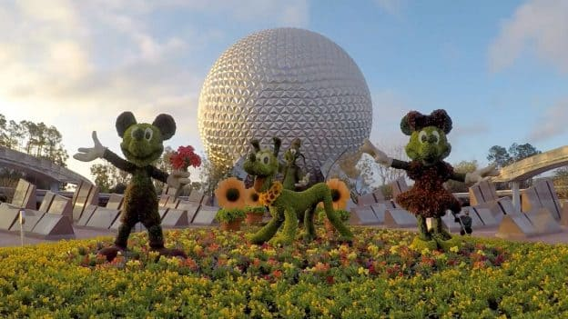 Mickey, Minnie and Pluto at Epcot International Flower & Garden Festival