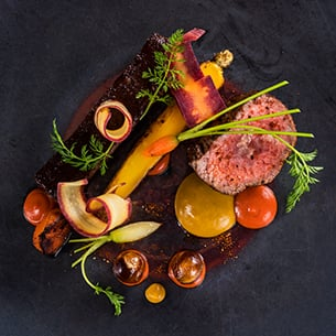 Lamb Loin Rainbow Carrots with Banana Curry, from Victoria & Albert's