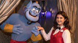 Disneyland Resort Cast Member, Lexi Marincovich, with the genie from Aladdin