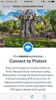 Connect to Protect Conservation Fund on the My Disney Experience App