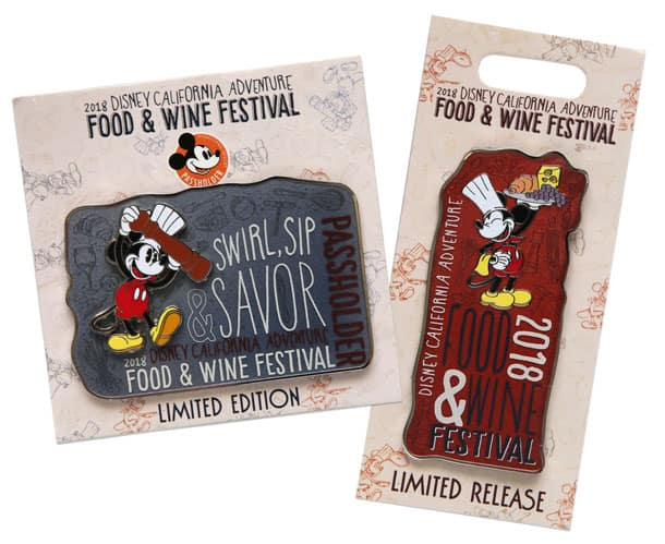 Disney California Adventure Food & Wine Festival Collectable Pins