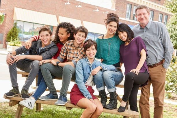"ANDI MACK - Disney Channel's ""Andi Mack"" stars Joshua Rush as Cyrus Goodman, Sofia Wylie as Buffy Driscoll, Peyton Elizabeth Lee as Andi Mack and Asher Angel as Jonah Beck. (Disney Channel/Bob D'Amico) © 2017 Disney Enterprises, Inc. All rights reserved."