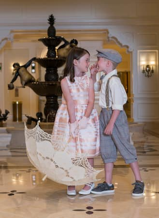 Kids in Victorian era fashions at Disney's Grand Floridian Resort & Spa
