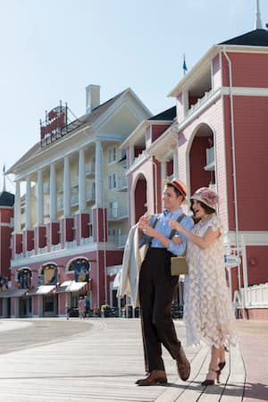 Couple Dressed in 1902s Fashion at Disney's BoardWalk Villas